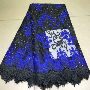 elbise malzemesi için taşlı işlemeli tissu africain İsviçre suda çözünür dantel 5 kilometre / çok Afrika kord dantel ağ kumaş