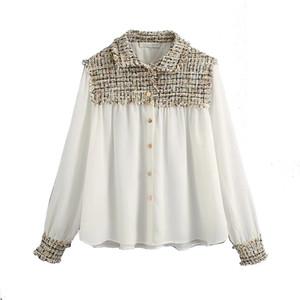 Klacwaya 2020 Vintage Şık Tüvit Patchwork Bluzlar Kadın Moda Yaka Yaka Uzun Kollu Gömlek Blusas Mujer Chic Tops