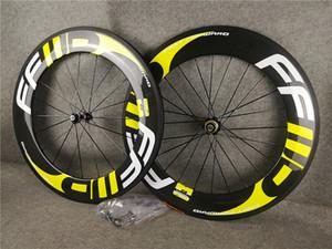 Бесплатная доставка желтый логотип FFWD F9R 88мм дороги углерода колеса велосипеда с 23mm шириной NovaTec A271 концентраторы 700C доводом Wheelset