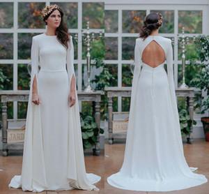 Длинные рукава атласная Свадебные платья совок полнометражный греческой богини с открытой спиной Платья Линия Открытый Сад Свадьба Люкс