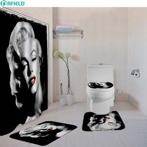 4 Pcs Set Sexy Women Bathroom Shower Curtain Set Toilet Cover Bath Mat Set Fabric Shower Curtains Bath Rug Set Hooks White Black