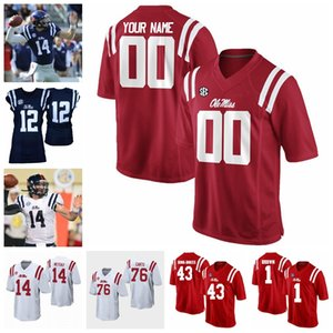 Ole Miss Rebels College Football Jerseys DK Metcalf Jersey Scottie Phillips Isaiah Woullard Laquon Treadwell Chad Kelly Individuelle genähtes