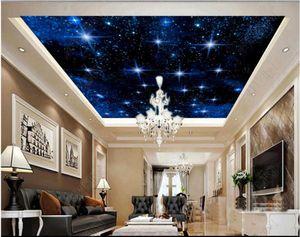 사용자 정의 큰 별이 빛나는 하늘 사진 벽지 3d ceiling murals wallpaper 별이 총총 한 밤하늘 하늘 천정 천장 벽화 papel de parede