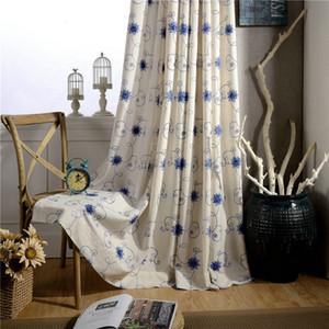Пастырское хлопок белье вышитые цветочные шторы для гостиной Спальня современный минималистский Оптовая пользовательские номер балкон занавес шторы