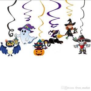 6pcs Jogo dos desenhos animados de Halloween Decoração Pingente PVC espiral Pingente partido Haunted House Hanging Garland Pendant Pumpkins AN2773