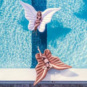 Gigante Asas de Anjo Piscina Inflável Flutuante Colchão De Ar Preguiçoso Festa de Água Brinquedo Equitação Borboleta Natação Anel Piscina 250 * 180 cm