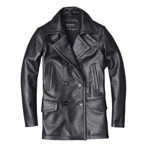Seveyfan натуральная кожа длинный тренч пальто двубортный черный тонкий натуральная воловья кожа Куртка для мужчин R3145