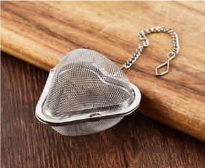 Acero inoxidable Reticular En forma de corazón Colador de té Tés Infusor Plateado Inicio Práctico Gancho Paquete de temporada Nuevo TeaStrainers Durable