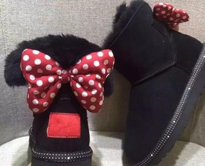 El último diseño de lujo corto Baby Boy Girl Women Kids Bow-Tie Snow Boots Fur Integrated Mantener Warm Boots EU Tamaño 25-41