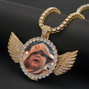Custom Made Foto Com asas Medalhões colar de pingente com corda Cadeia cúbica de Homens Zircon Hip hop Jóias