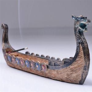 قوارب التنين البخور عصا حامل الشعلة اليد منحوت تصميم الصفحة الرئيسية مبخرة الحلي ريترو البخور التقليدية الديكور التماثيل