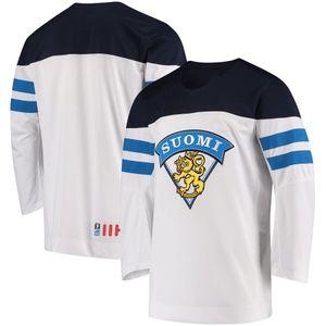 Personalizado Jersey Team Finland IIHF sarja Oficial 2017-18 azul do hóquei Branco Jerseys # 29 Patrik Laine costurado algum nome Seu número personalizado