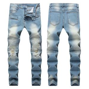 Brand Fashion Hip Hop Patch Men Retro Jeans Knee Rap Hole Zipped Biker Jeans Men Loose Slim Destroyed Torn Ripped Denim Man Jeans