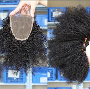 Afro Kinky Curly Cabelo 3 Pacotes Com Fechamento Afro Kinky Médio Livre 3 Parte Dupla Trama Humano Cabelo Extensões Tintura Human Human Weaves