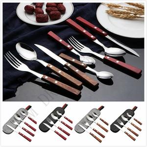Natural talheres durável cabo de madeira utensílios de mesa portáteis 304 conjuntos de talheres de aço inoxidável garfo colher colher de chá de faca