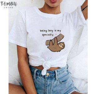 Funny Snooze Lazy Sloth Women T Shirt New Sloth Animal Cup Top Loose Cute Cartoon T Shirt Summer T Shirt