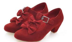 2019 الأحذية النسائية في الربيع والخريف مع اسلوب جديد الأوسط كعب الخشنة كعب جولة رئيس الجلد المدبوغ BOWKNOT @ 4049