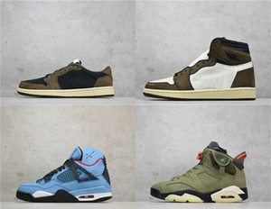 Top qualité Travis 6s Olive Noir Voile 4s Bleu 1s Min Max Top Mens Basketball Scotts Sneakers Cactus Jack Chaussures US 7-12
