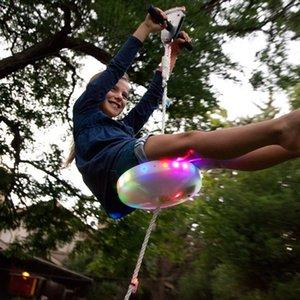 Enfants Slackers Siège de balançoire Glowing nuit Riderz Led disque soucoupe volante balançoire avec Zipline Jouets d'extérieur