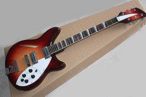 Wholesale crimson electric guitar semi-hollow, 2 inputs, 2 pickups, rosewood scale, white shield, customized service, free shipping