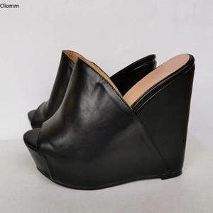 Plataforma de Mujeres Olomm hecho a mano mulas sandalias acuña las sandalias de tacón con punta abierta elegantes zapatos del partido Negro Tamaño de las mujeres de Estados Unidos Plus 5-20