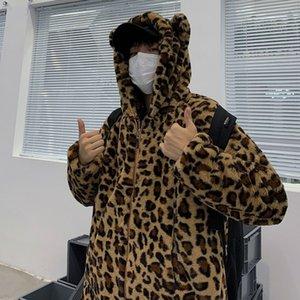Winter Leopard Jacket Men Warm Thicken Parka Men Fashion Casual Hooded Coat Man Streetwear Loose Cotton Jacket Male Clothes