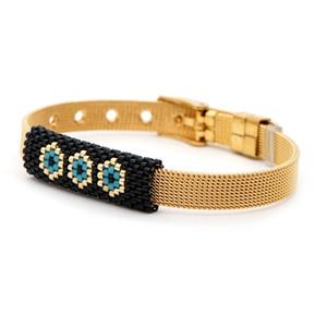 Steel Trendy Men Snap Evil Boyfriend Jewelry Stainless Gold Button Miyuki Bracelet 2021 Bracelet Mens Braclets Eye Gift Muxaw