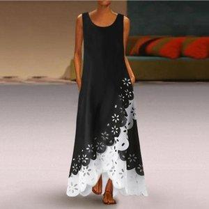 Women's summer clothes Europe and cross-border spot new women's fake two-piece swing hole burned sleeveless dress women's luxury designer wo