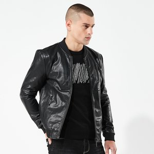 2018 Spring And Autumn New Style MEN'S Leather Jacket Coat Men's Slim Fit Europe And America Short Laser Pattern PU Leather yi i
