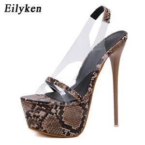 Eilyken Gladiator Sandals Platform Sandals Mulheres PVC transparente Mulheres Bombas 17cm Verão Sexy Serpentine Mulher Sandal