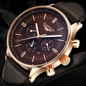 relogio masculino GUANQIN Mens Watches Top Brand Luxury Chronograph Military Quartz Watch Men Sport Leather Strap Wrist Watch