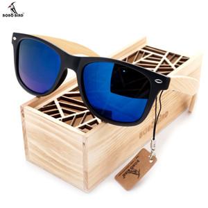 BOBO BIRD Negro Cuadrado Mujeres Hombres Gafas de Sol Con Piernas de Bambú Gafas de Sol Polarizadas de Verano Polarizadas Viaje Caja de Madera Gafas