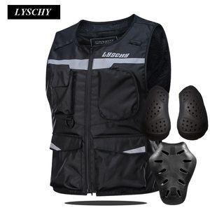 LYSCHY alta visibilità giacche moto Vest guida notturna riflettente Gilet Con protezione Pastiglie moto Giacca impermeabile