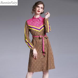 BunniesFairy 2019 Primavera Autunno Donne Elegante Blocco di colore geometrica a righe Stampa Shirt Dress for Office Lady