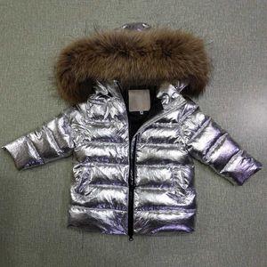 -30 Degree Kids Outwear Coat Natural Raccoon Fur Boy Down Jacket White Duck Down Girls Winter Coat Hooded Children Snowsuit Z145