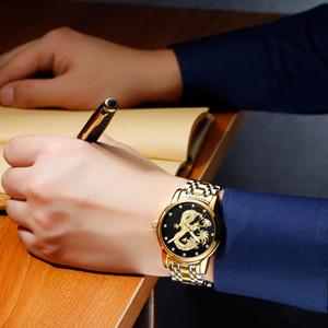 2021 Relogio Masculino Guanqin Mens Часы Лучшие бренд Роскошные светящиеся часы Золотой Дракон Скульптура из нержавеющей стали Кварцевые наручные часы
