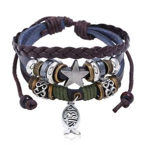 Jesus Fisch Armband Retro Stern Kreuz Multilayer Wickelarmband Lederarmbänder Frauen Mann Modeschmuck Will und Sandy Drop Ship