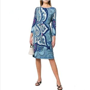 New arrival 2020 Women's Summer spring epucci wear Italian Fashion Slash neck Long Sleeve Elastic Knitted Slim jersey Dress