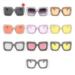 MISSKY gran tamaño de las mujeres de moda de trama grande Plaza Bling Retro Top Rhinestone gafas de sol para el verano