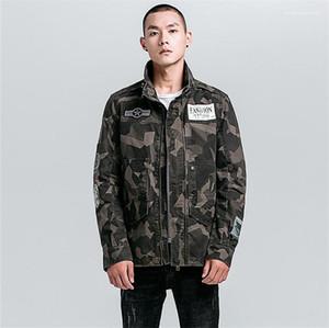 Letra impressa Designer Adolescente roupa ocasional Plus Size Mens Jacket Estilos Rua Camouflage Mens Jacket