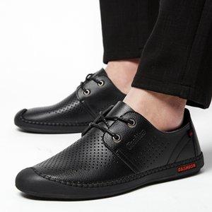 Yumuşak Deri İngiltere Gençlik yönlü Sandalet Nefes MEN'S dışarı Yaz Hollow İş Casual Ayakkabı Yumuşak Sole MEN'S SHOES AYAKKABI
