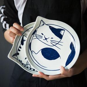 Estilo japonés de cerámica Placas de lágrima Platos Conjuntos de frutas Vajilla creativo del diseño del patrón de la historieta linda Gato de la Suerte