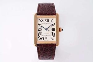 Best-seller de la série de réservoirs de mode de haute qualité pour hommes W5200027 cadran carré bracelet en cuir 41mm luxe montre mécanique automatique des hommes