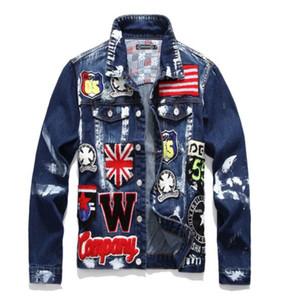 Oi Moda Masculina de Rua Jaqueta Jeans REINO UNIDO Bandeira Bordado Pintado Jaqueta Jeans Streetwear Casaco para o Sexo Masculino