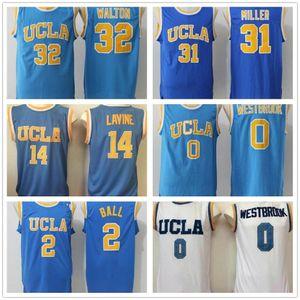 UCLA Bruins College Baloncesto Jersey Russell Westbrook Lonzo Ball Zach Lavine Kareem Abdul Jabbar Reggie Miller Bill Walton Kevin Love Blue