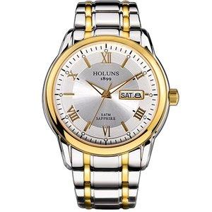 HOLUNS 2020 relogio masculino homens de aço inoxidável completa top relógio automático de luxo 5ATM impermeável dropshipping Super luminosa