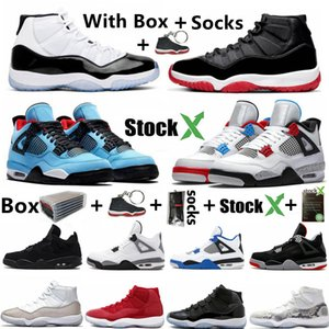 New Black Cat 4s Bred 11 11S Space Jam Mens Basketball Shoes What The White Cement Concord 45 Gamma Blue Sports Sneakers
