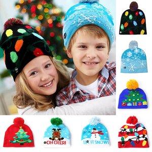 Led Bonhomme de neige Étoffes Cap Beanies pour flocon de neige Sapin de Noël Femmes Enfants chaud cheveux Boule Light Up Chapeaux Hip-Hop DHL WX9-1002