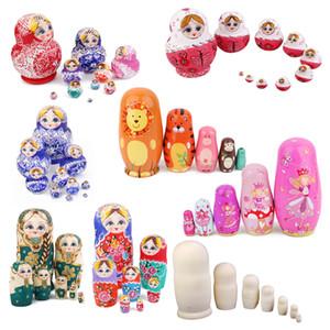 10PCS Esecuzione eccellente Multi-Color Painted Wooden matryoshka doll Ragazza russa Nesting Dolls