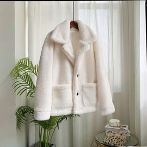 Zadorin 2019 Escudo con el bolsillo de las mujeres más el tamaño de imitación de piel del cordero Chaqueta Mujer Streetwear SH190930 Otoño Invierno de la solapa de manga larga suelta peluche